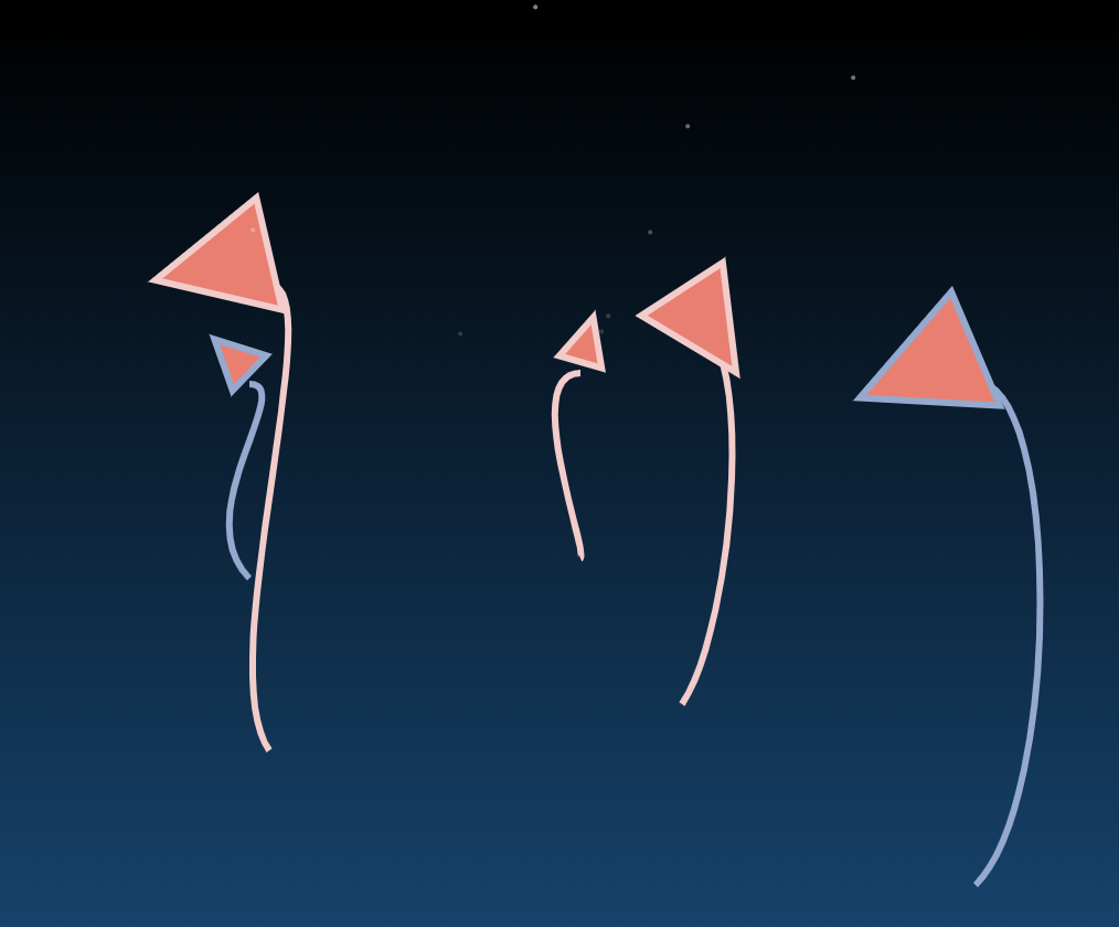 """""""plants"""" consisting of curvy line stalks with triangle flowers are set against a dark blue gradient with white pinpoint stars"""